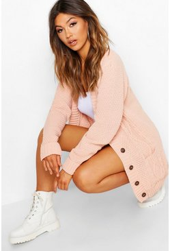 Blush pink Cable Boyfriend Button Up Cardigan