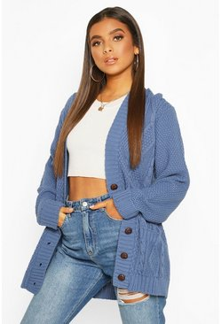 Denim-blue blue Cable Boyfriend Button Up Cardigan