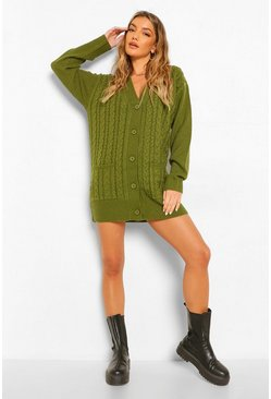 Khaki Cable Boyfriend Button Up Cardigan