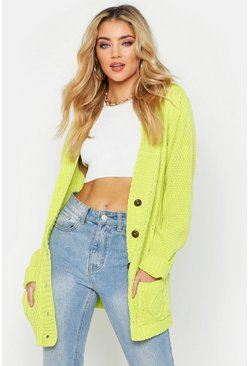 Lime green Cable Boyfriend Button Up Cardigan