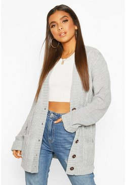 Silver grey grey Cable Boyfriend Button Up Cardigan