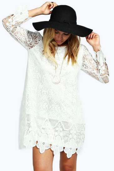 White Flower Lace Long Sleeve Smock Dress