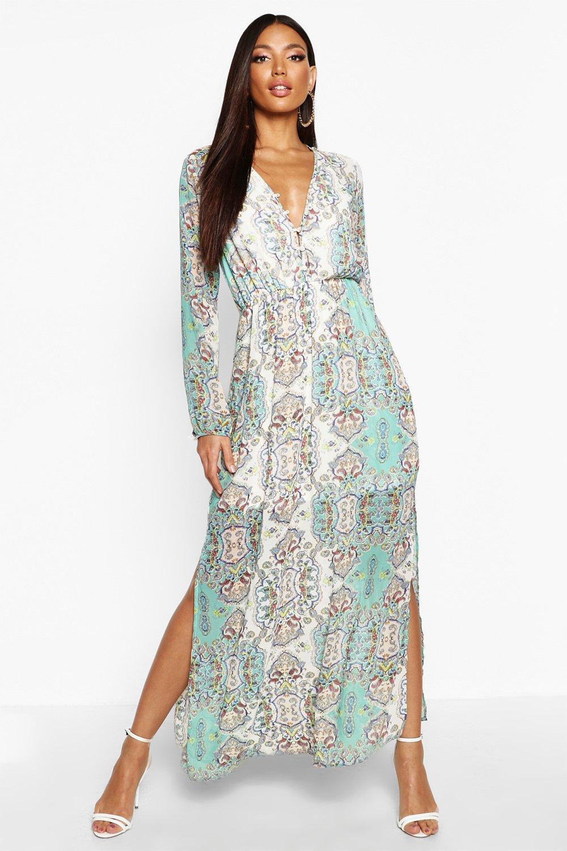 SALE Cage Detail Paisley Woven Maxi Dress