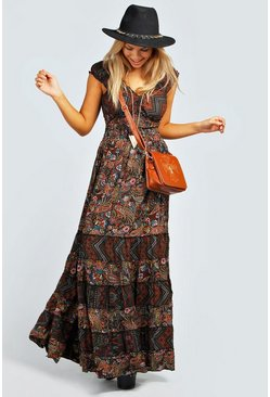 Multi Julia Elastic Gypsy Tierred Maxi Dress