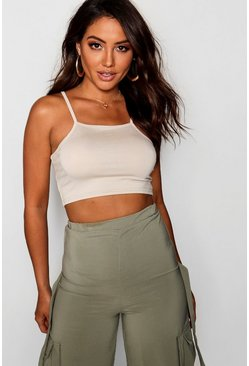 Stone beige Basic crop top med smala axelband