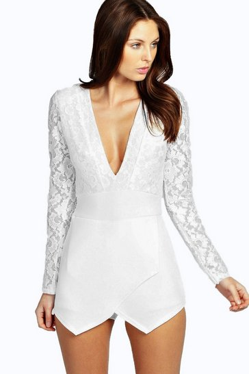 Long Sleeve Lace Plunge Skort Playsuit