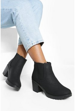 Black Chunky Cleated Heel Chelsea Boots