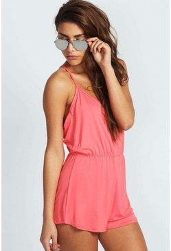 Coral pink Basic Strappy Back Romper
