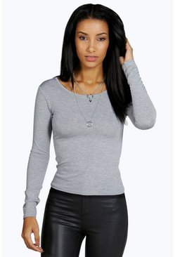 Grey marl Basic Round Neck Long Sleeve Top