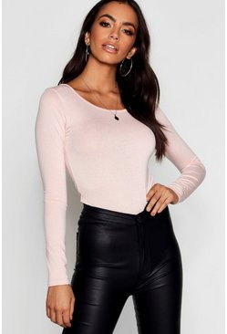 Nude Basic Round Neck Long Sleeve Top