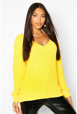 Bright yellow yellow Oversized V Neck Jumper