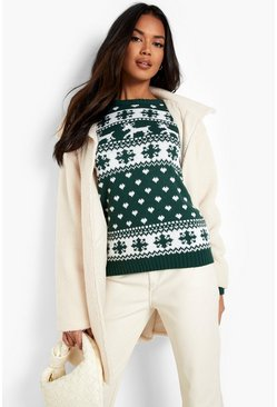 Bottle green Reindeer & Snowflake Christmas Jumper