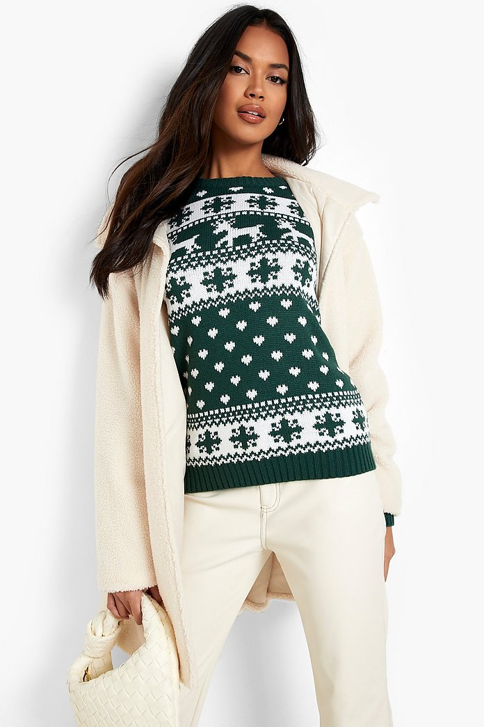 Reindeer and snowflake black and white Christmas jumper
