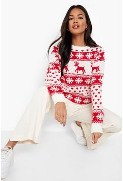 Cream white Reindeer & Snowflake Christmas Jumper