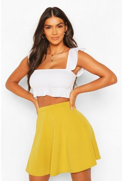Lime green Basic Fit And Flare Skater Skirt