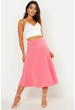 Coral pink Basic Plain Full Circle Midi Skirt