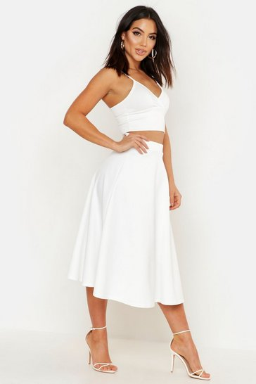 Ivory white Basic Plain Full Circle Midi Skirt