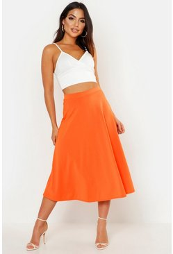 Orange Basic Plain Full Circle Midi Skirt