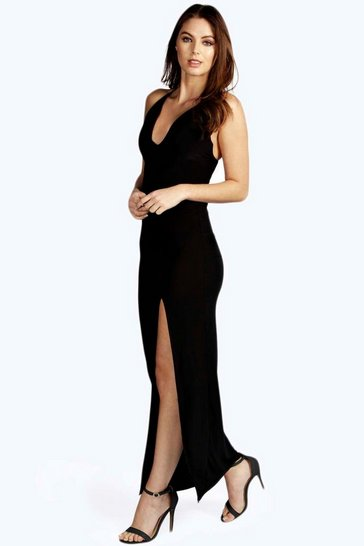 Black Plunge Neck Front Split Maxi Dress