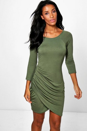 Khaki Katie Wrap Over Skirt 3/4 Sleeve Bodycon Dress