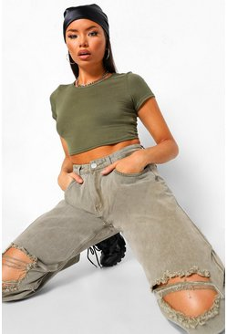 Sage green Basic Short Sleeve Crop Top