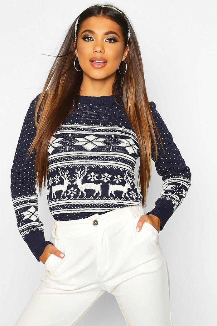 Reindeer Fairisle Christmas Jumper   Boohoo UK