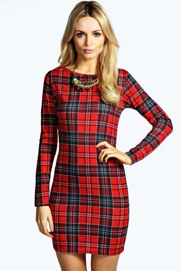 Multi Amelia Tartan Long Sleeve Bodycon Dress