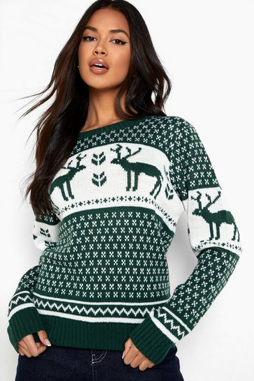 Bottle green Snowflake and Reindeer Knitted Christmas Jumper