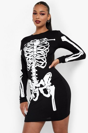 Black Halloween Skeleton Bodycon Dress