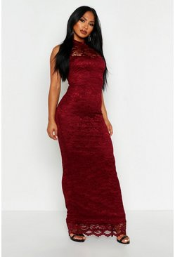 Berry red Lace Scallop Maxi Dress