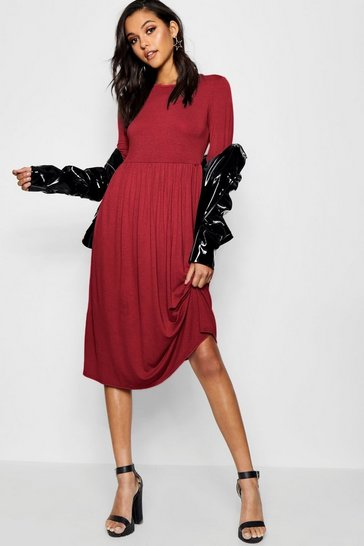 Burgundy red Long Sleeve Midi Dress