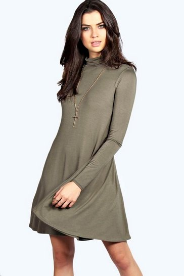 Khaki Faye Turtle Neck Long Sleeve Swing Dress