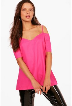 Fuchsia pink Woven Strappy Open Shoulder Top