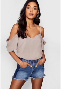 Grey Woven Strappy Open Shoulder Top