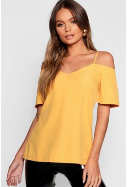 Mustard yellow Woven Strappy Open Shoulder Top