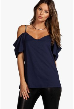 Navy Woven Strappy Open Shoulder Top