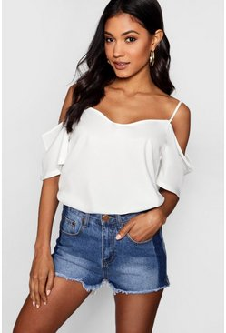 White Woven Strappy Open Shoulder Top