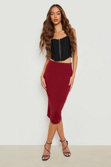Berry red Basic Midi Jersey Tube Skirt