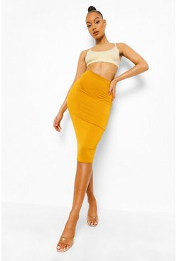Mustard yellow Basic Midi Jersey Tube Skirt