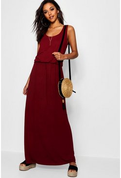 Berry red Maxi Jurk Met Racer Rug