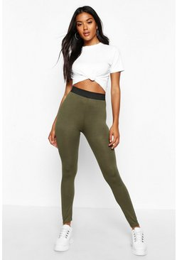 Khaki Basic Contrast Waist Band Leggings