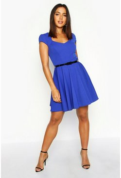 Cobalt blue Sweetheart Neck Skater Dress