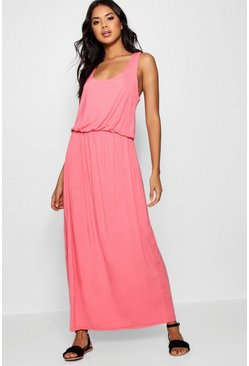Coral pink Racer Back Maxi Dress