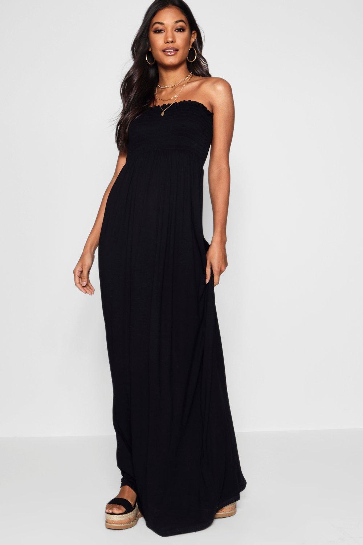 SALE Shirred Bandeau Maxi Dress