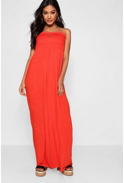 Orange Shirred Bandeau Maxi Dress