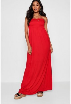 Red Shirred Bandeau Maxi Dress