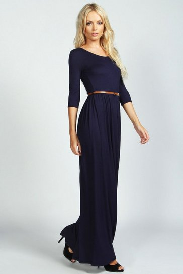 Navy Scoop Neck Elasticated Waist Maxi Dress