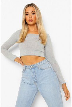 Grey marl Basic Long Sleeve Crop Top