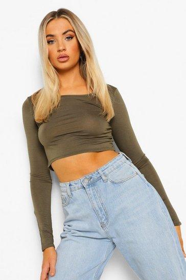 Khaki Green Basic Long Sleeve Crop Top