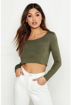 Sage green Basic Long Sleeve Crop Top
